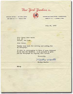 """Typed Letter Signed (""""Mickey Mantle""""). Mickey MANTLE."""