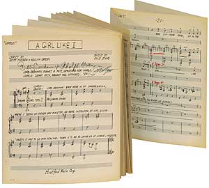 "Sheet music for ""A Girl Like I"" from the Musical Lorelei"