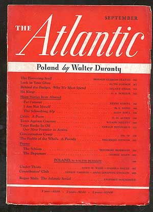 The Atlantic Monthly September 1939, Vol. 164, No. 3
