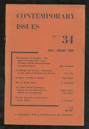 Contemporary Issues: A Magazine for a Democracy of Content: Vol. 9, no. 34, July-August 1958