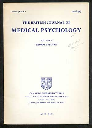 The British Journal of Medical Psychology, Volume 38, Part 1, March 1965. Thomas FREEMAN