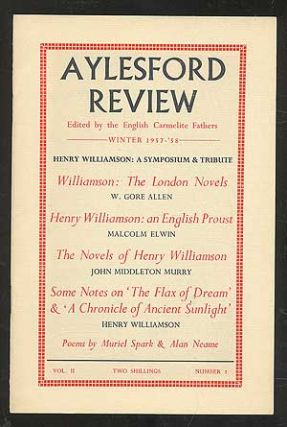 Aylesford Review, Winter 1957-58, Volume II, No. 2