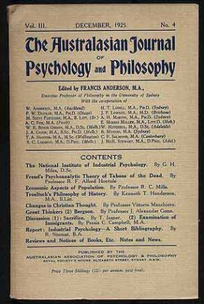 The Australasian Journal of Psychology and Philosophy: Volume III, Number 4, December, 1925