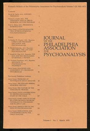 Journal of the Philadelphia Association for Psychoanalysis: Volume I, Numbers 1-4, 1974
