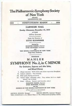 The Philharmonic-Symphony Society of New York: Mahler: Symphony No. 2 in C Minor