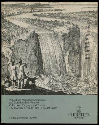 Christie's New York: Printed and Manuscript Americana and Canadiana including the Collection of...