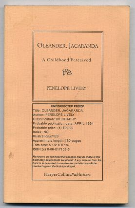 Oleander, Jacaranda: A Childhood Perceived. Penelope LIVELY