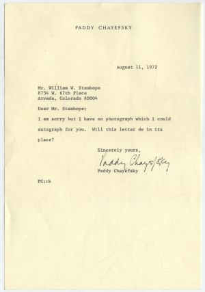 Typed Letter Signed. Paddy CHAYEFSKY.