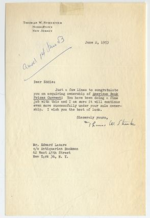 Typed Letter Signed to Edward Lazare