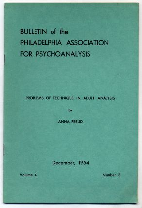 Problems of Technique in Adult Analysis. Anna FREUD