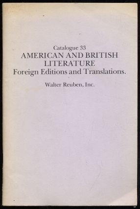 American and British Literature: Foreign Editions and Translations: Catalogue 33