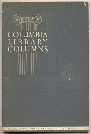 Columbia Library Columns: Volume X, November, 1960, Number I