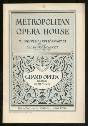 Program for Pelleas Et Melisande: Metropolitan Opera House Grand Opera Season 1930-1931