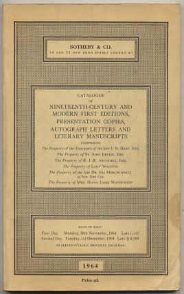 Catalogue of Nineteenth-Century and Modern First Editions, Presentation Copies, Autograph Letters...