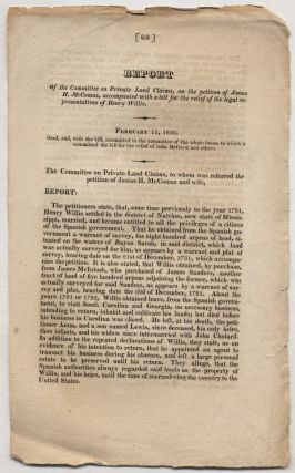 Caption title]: Report of the Committee on Private Land Claims, on the petition of Josiah H....