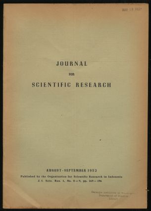 Journal For Scientific Research: Volume I, No. 8-9, August-September, 1952