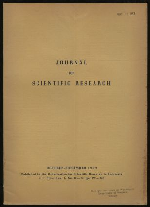 Journal For Scientific Research: Volume I, No. 10-12, October-December, 1952