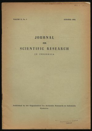 Journal For Scientific Research in Indonesia: Volume II, No. 2, October, 1953