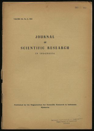 Journal For Scientific Research in Indonesia: Volume III, No. 2, August 1954
