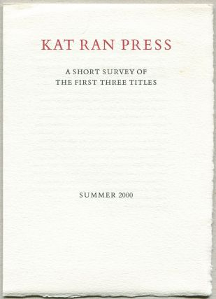 Kat Ran Press: A Short Survey of the First Three Titles
