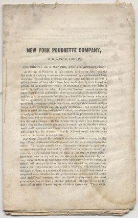 Caption title]: New York Poudrette Company, D.K. Minor, Agent. Poudrette as a Manure, and it's...