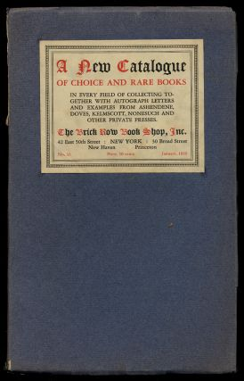 Catalogue 33 of The Brick Row Book Shop, Inc. [cover title]: A New Catalogue of Choice and Rare...