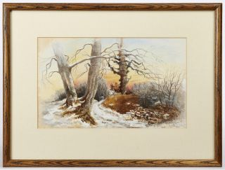 Original Painting:] Winter Landscape at Sunrise