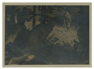 Grisaille Painting of Four Soldiers with rifles lying in wait in the bushes for an enemy soldier walking in the open