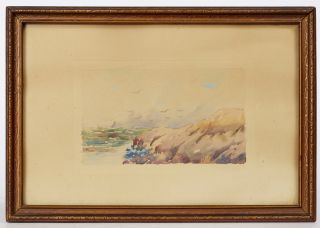 Watercolor Painting of a Rocky Beach Scene
