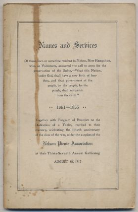 Cover title]: Names and Services of those, born or sometime resident in Nelson, New Hampshire,...