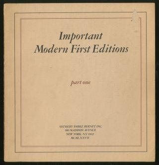 Important Modern First Editions Part One