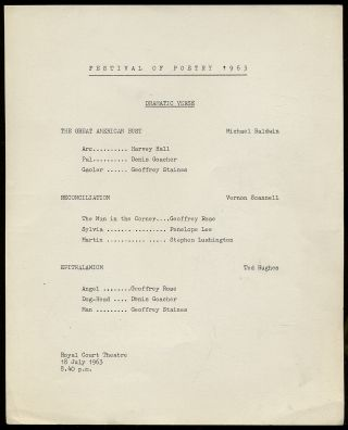 Broadside]: Festival of Poetry 1963. Dramatic Verse. The Great American Bust. Michael Baldwin......