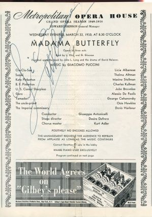 Madama Butterfly (Metropolitan Opera Program, Season 1949-1950)