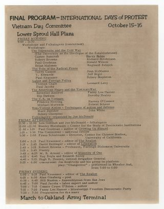 Broadsheet]: Final Program - International Days of Protest. Vietnam Day Committee. October 15-16....