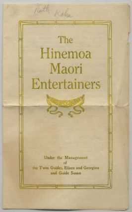 Program]: The Hinemoa Maori Entertainers Under the Management of the Twin Guides, Eileen and...