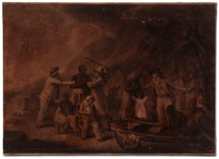 Print of A Slave Family Being Separated by Slavers on the Shore