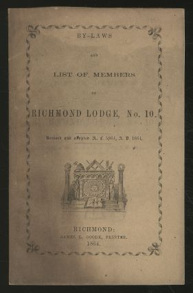 By-Laws and List of MEMBERS OF RICHMOND LODGE, NO. 10