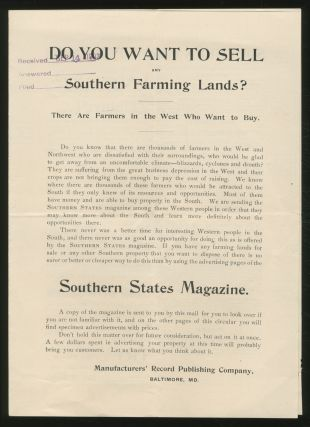 Do You Want To SELL ANY SOUTHERN FARMING LANDS? THERE ARE FARMERS IN THE WEST WHO WANT TO BUY