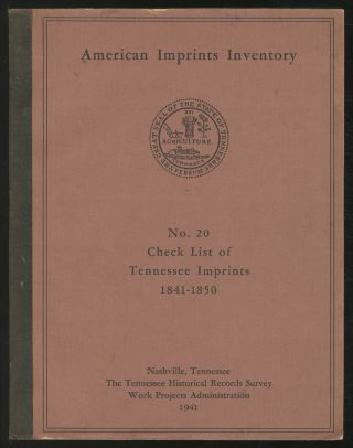 Check List Of Tennessee Imprints, 1841-1850