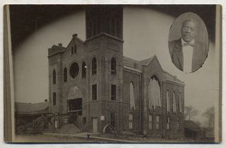 Postcard]: Unidentified Image of an African-American church undergoing renovation, with a small...