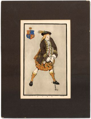 "Original Print]: Golfer in Scottish Tartans from ""1705"" (1955). Frederick Thompson RICHARDS"