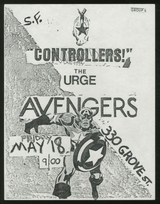 Punk Flyer]: 330 Grove St. Flyer. Controllers! Avengers, The Urge