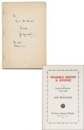 Marks Upon a Stone: Selected Lyrics and Sonnets, 1920-1940