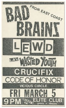 Punk Flyer]: Bad Brains at The Elite Club