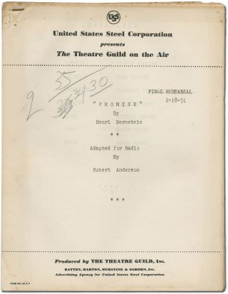 Radio script]: Promise by Henri Bernstein Adapted for Radio. Robert ANDERSON, Henri Bernstein