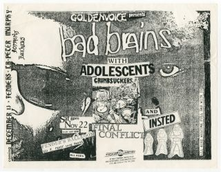 Punk Flyer]: Goldenvoice Presents Bad Brains. The Adolescents Bad Brains, Final Conflict, Peter...