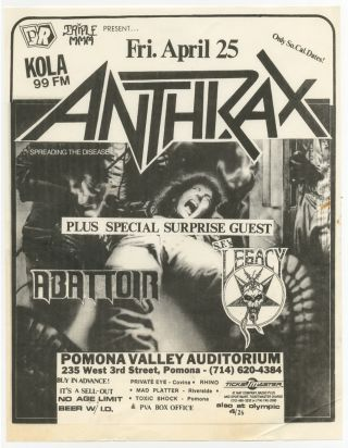 Punk Flyer]: Triple MMM present Anthrax. Legacy Anthrax, Abattor