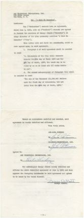 "Partially Printed Contract Signed (""George Abbott""). George ABBOTT"
