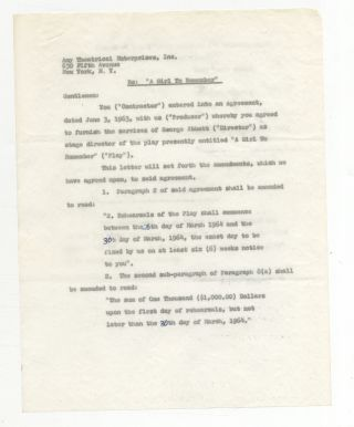 "Partially Printed Contract Signed (""George Abbott"")"