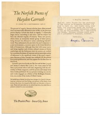 Broadside Prospectus]: The Norfolk Poems of Hayden Carruth [with] Typed Note Signed